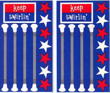 *BATONS* Frances Meyer  STICKERS 2 Sheets Twirlin' R-W-B MAJORETTE Marching Band
