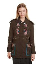 Desigual Khaki Lena Parka Jacket Multicoloured Ethnic Embroidery 36-46 8-18 £184