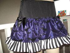 NEW Black,purple,White Bats,Stripes Halloween Skirt,Punk-All sizes Goth,Rock,