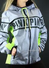Victoria's Secret PINK Full Zip Anorak Windbreaker Hoodie Jacket Gray XS S M L