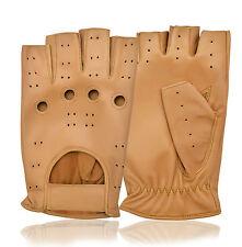 Calidad Superior Para Hombre Vestido Medio Dedo Chofer cuero guantes de conducción Fingerless