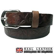 25mm Womens Brown Full Grain Hide Embossed Pattern Handmade In UK Leather Belt