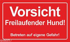 Vorsicht Freilaufender Hund - Aludibond, PVC- oder Klebeschild in  150x250mm