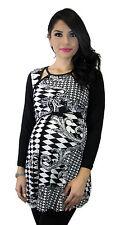 Black Maternity Two Tone Diamond Long Sleeve Winter Elegant S M L XL