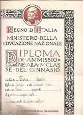 DIPLOMA LICEO GINNASIO SCUOLA ALFIERI TORINO REGNO ITALIA 1937 PAGELLA