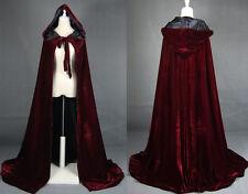 Wine red black velvet hooded cloak wedding cape Halloween wicca robe coat S-XXL