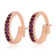 Sold 10k Rose Gold Huggie Earrings Natural Gemstone Diamond Hoop Earrings Gift
