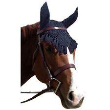 Crochet Fly Veil Ears & Fringe LARGE HORSE Size Black White