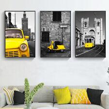 Black White Art Poster Yellow Car Street View Prints Canvas Home Wall Decor Gift