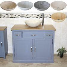 Bathroom Vanity Unit | Grey Cabinet Wash Stand with Stone Basin