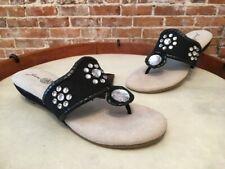 Joan Boyce Bella Black Jeweled Thong Mini Wedge Sandals New