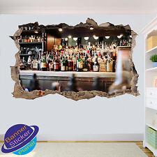 BAR BEVANDE Lusso Uomo Grotta 3D Adesivo Parete rotte Room Decor Decalcomania Murale ZI5