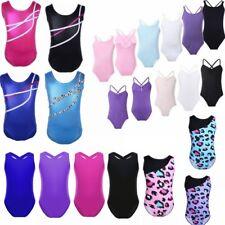 Gymnastics Leotards Toddler Girls Metallic Ballet Skate Bodysuit Dancewear 2-14Y