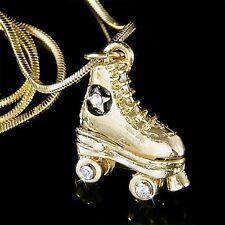 w Swarovski Crystal star 3D Roller Skates shoe Gold P Pendant Necklace Xmas Gift