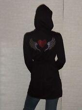 Womens Long Black Oblique Zipper Hoodie Dress Custom Back Rhinestone Heart Wings