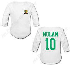 Body Bébé Football Maillot Cameroun personnalisé avec prénom et numéro au dos