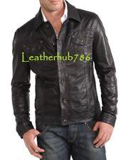 New Sexy Men Shirt Jacket Coat Collar Soft Black Lambskin Leather Designer 406