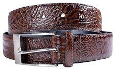 Hombre Cuero Real Coñac Con Textura Reptil Clásico Cinturones Hebilla S-3XL