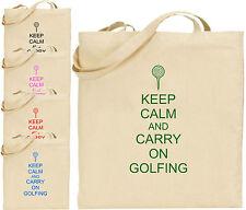 Keep Calm And Carry On Golf Grande Cotone Tote Shopping Bag amico regalo Golf