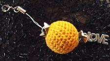 BIJOU pour sac ou fermeture éclair boule orange LOVE Fait main bag charm jewel