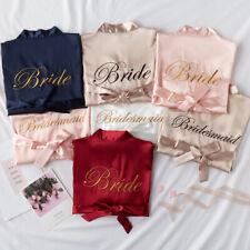 Bride Robe Kimono Wedding Silk Satin Dressing Gown Sleepwear Bathrobe Nightdress