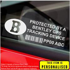 4 X Bentley personalizzato segnalatore GPS-ADESIVI DI SICUREZZA-ALLARME-Tracker, AUTO