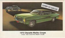 1972 CHEVELLE MALIBU DEALER ADVERTISING POSTCARD