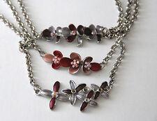 Flower Designed Anklet or Lg Bracelet / Silver-tone Chain Pink or Purple / Bella