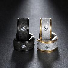 Klapp Creolen Diamantiert Breit Edelstahl Zirkonia Damen Herren Ohrringe Kreolen