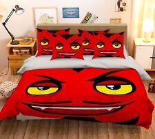 3D Red Devil Face 52 Bed Pillowcases Quilt Duvet Cover Set Single Queen CA