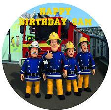 1 x Fireman Sam 19cm round personalised cake edible image