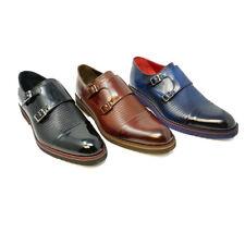 Futoli Men 100% Genuine Leather Double Monk Fahsion Dress Shoes Handmade