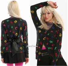 Sailor Moon Symbols Black Cardigan Sweater Black Satin Tie Hot Topic Exclusive