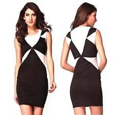 Sexy Casual Party Dress Size 8 10 Colour Block Sleeveless Mini Stretchy Bodycon