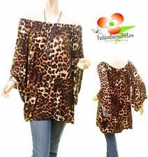 Women Boho Plus Leopard Off Shoulder Bell Ruffle Sleeve Tunic Shirt Top 1X 2X 3X