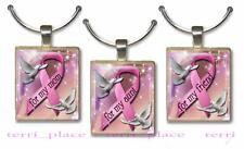 Pink Ribbon Awareness Scrabble Tile Pendant Charm For Mom Aunt Friend Doves