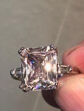 18k White Gold o/ 925  Engagement Ring 10 Ct Emerald Cut Diamond Ring - 3 Stones