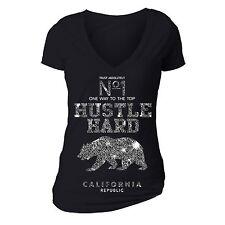 Hustle Hard Trust Star T-shirt California Republic Flag Bear Cali Summer Tshirt