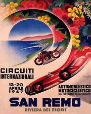 POSTER 1947 CAR MOTORCYCLE RACE SAN REMO RACING CIRCUIT VINTAGE REPRO FREE S/H