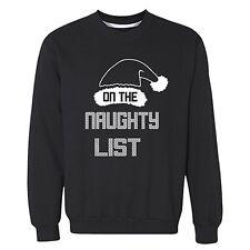 On the naughty List Santa - UGLY CHRISTMAS Sweater Men Women Sweatshirt BLACK