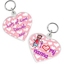 I LOVE MY MUMMY / NANNA / GRAN / GRANDMA HEART SHAPED PERSONALISED KEYRING