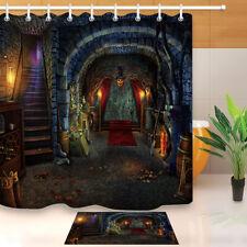Halloween Shower Curtain Sets for Bathroom Decor +12 Hooks Magic Stone Castle