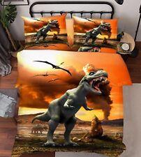 3D Dinosauri 225 Letto Federe Trapunta Piumone Copertina Impostato Singolo IT