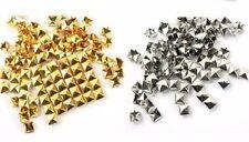 Square pirámide postes con 4 Puntas, 9MM X 9MM, oro o plata, elija cantidad