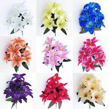 Home Accessories Fake Lilies Artificial Flowers Lilies Bouquet Wedding Decor