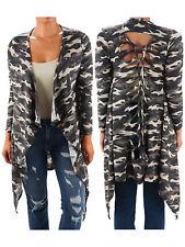 GA@ Funfash Plus Size Women Camo Black Kimono Braided Duster Cardigan Sweater