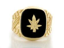 10k or 14k Solid Gold Nugget Onyx Mens Ring w/ Marijuana