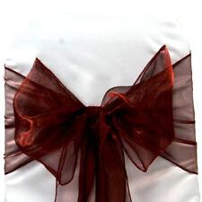 Burgundy Organza Chair Cover Sash Bow Wedding Anniversary Banquet Decor
