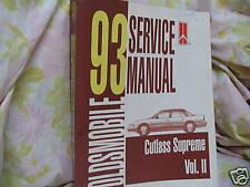1993 OLDSMOBILE CUTLASS SUPREME VOL 2  SERVICE MANUAL