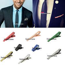 MENS TIE CLIPS Skinny Clips Pins Silver Gold Grey Necktie  5cm 4cm 2cm Red Blue